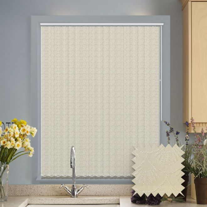 Cream Vertical Blinds - Made to Measure vertical blind in Sea Shell Cream - Just Blinds